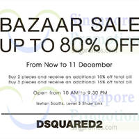 Dsquared2 Up To 80% Off Bazaar Sale @ Isetan Scotts 28 Nov - 11 Dec 2014