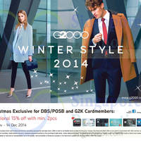 Read more about G2000 15% OFF Winter Style For DBS/POSB Cardmembers 20 Nov - 14 Dec 2014