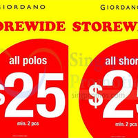 Read more about Giordano $25 2pcs Polos / 2pcs Shorts Promo 25 - 30 Nov 2014