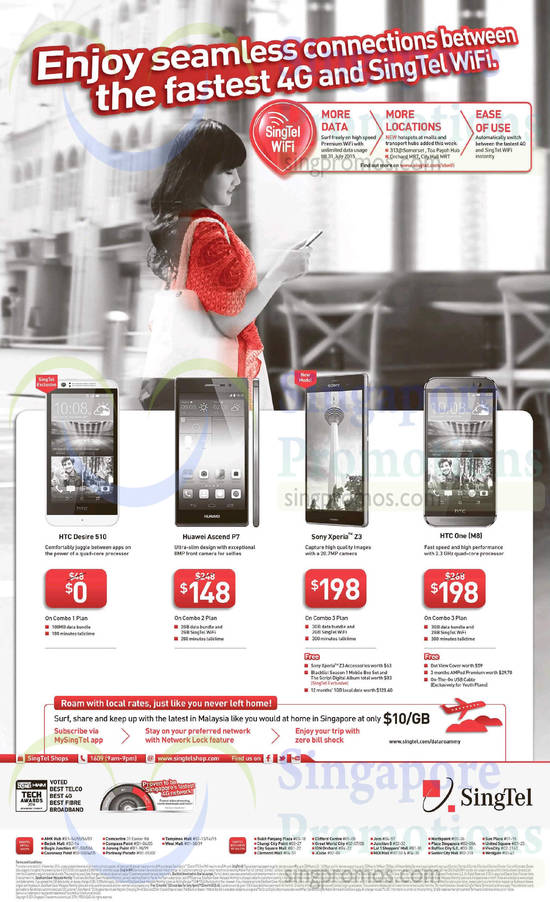 HTC Desire 510, HTC One M8, Huawei Ascend P7, Sony Xperia Z3