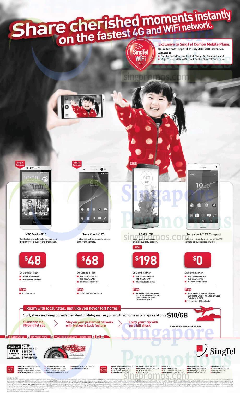 HTC Desire 510, Sony Xperia C3, LG G3, Sony Xperia Z3 Compact