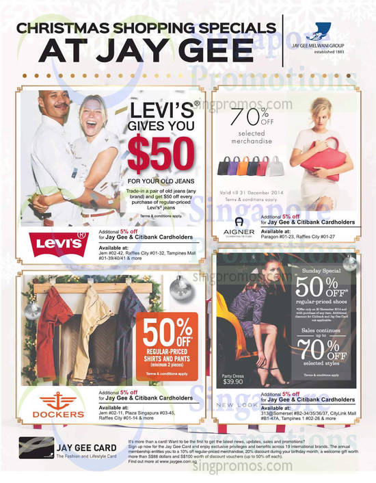 Jay Gee Card Specials, Fashion And Lifestyle Card, Levis, Aigner, Dockers, New Look, Trade In Jeans, Handbags, Men Apparel, Men Pants, Ladies Fashion Clothing