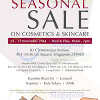 Read more about Kanebo Cosmetics & Skincare SALE @ UE Square 12 - 13 Nov 2014