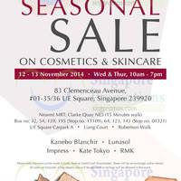 Read more about Kanebo Cosmetics & Skincare SALE @ UE Square 12 - 13 Nov 2014