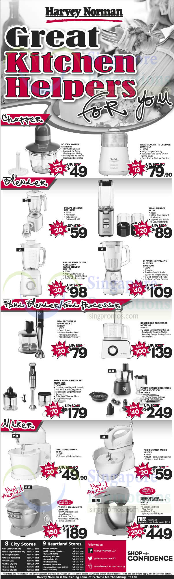 Bosch MMR08R2 Chopper, Tefal DPA171LA Chopper, Philips HR2161/41 Blender, Tefal BL142 Blender, Philips HR2172 Blender, Electrolux EBR5604W Blender, Braun MR730 Multiquick 7, Bosch MCM4100 Food Processor, Bosch MSM87180 Hand Blender Set, Philips HR7776/91 Food Processor, Tefal HT-413 Stand Mixer, Philips HR1565 Stand Mixer, Cornell CSMEL688 Stand Mixer and Kenwood MX310 Stand Mixer