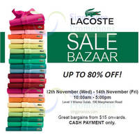 Read more about Lacoste Bazaar SALE @ Wisma Gulab 12 - 14 Nov 2014