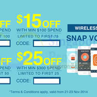 Lazada Singapore Up To $25 OFF Mobiles 48hr Coupon Codes 22 - 23 Nov 2014