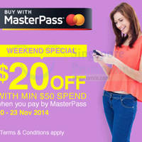 Read more about Lazada $20 OFF Storewide With MasterPass 21 - 23 Nov 2014