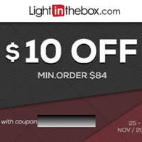 LightInTheBox $10 OFF Black Friday Coupon Code 25 - 30 Nov 2014