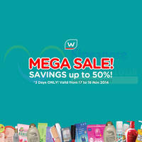 Read more about Watsons Up To 50% Off Mega Sale Offers 17 - 19 Nov 2014