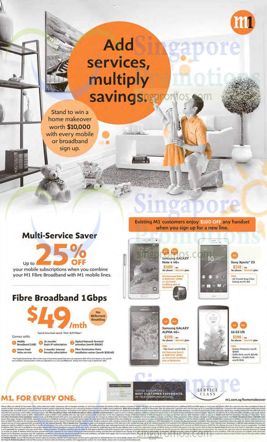 Multi Service Saver, Fibre Broadband 1Gbps, Samsung Galaxy Note 4, Samsung Galaxy Alpha, Sony Xperia Z3, LG G3