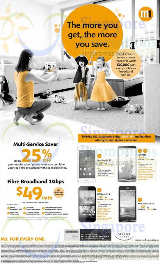 Multi-Service Saver, Fibre Broadband 1Gbps, Sony Xperia Z3, LG G3, HTC Butterfly 2, Asus Zenfone 5