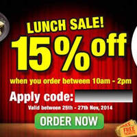 Read more about Room Service Food Delivery 15% OFF Coupon Code 26 - 27 Nov 2014