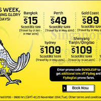 Scoot From $15 2hr Promo Air Fares 25 Nov 2014
