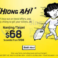 Scoot From $68 Nanjing & Taipei Promo Air Fares 28 - 30 Nov 2014