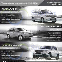 Read more about Ssangyong Actyon, Stavic & Rexton Offers 1 Nov 2014