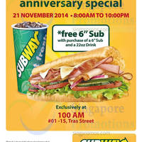 Subway Buy 1 Get 1 FREE (BOGO) Sub Promotion @ 100AM 21 Nov 2014