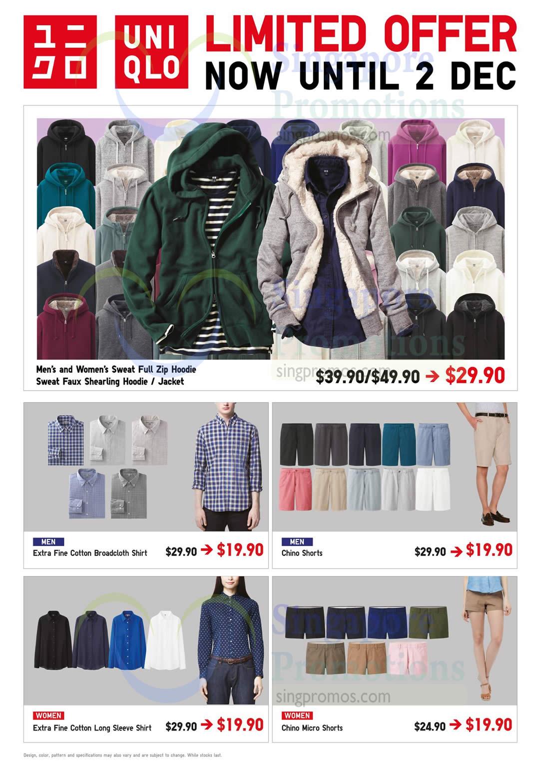 Sweat Full Zip Hoodie, Men Cotton Broadcloth Shirt, Chino Shorts, Women Shirt
