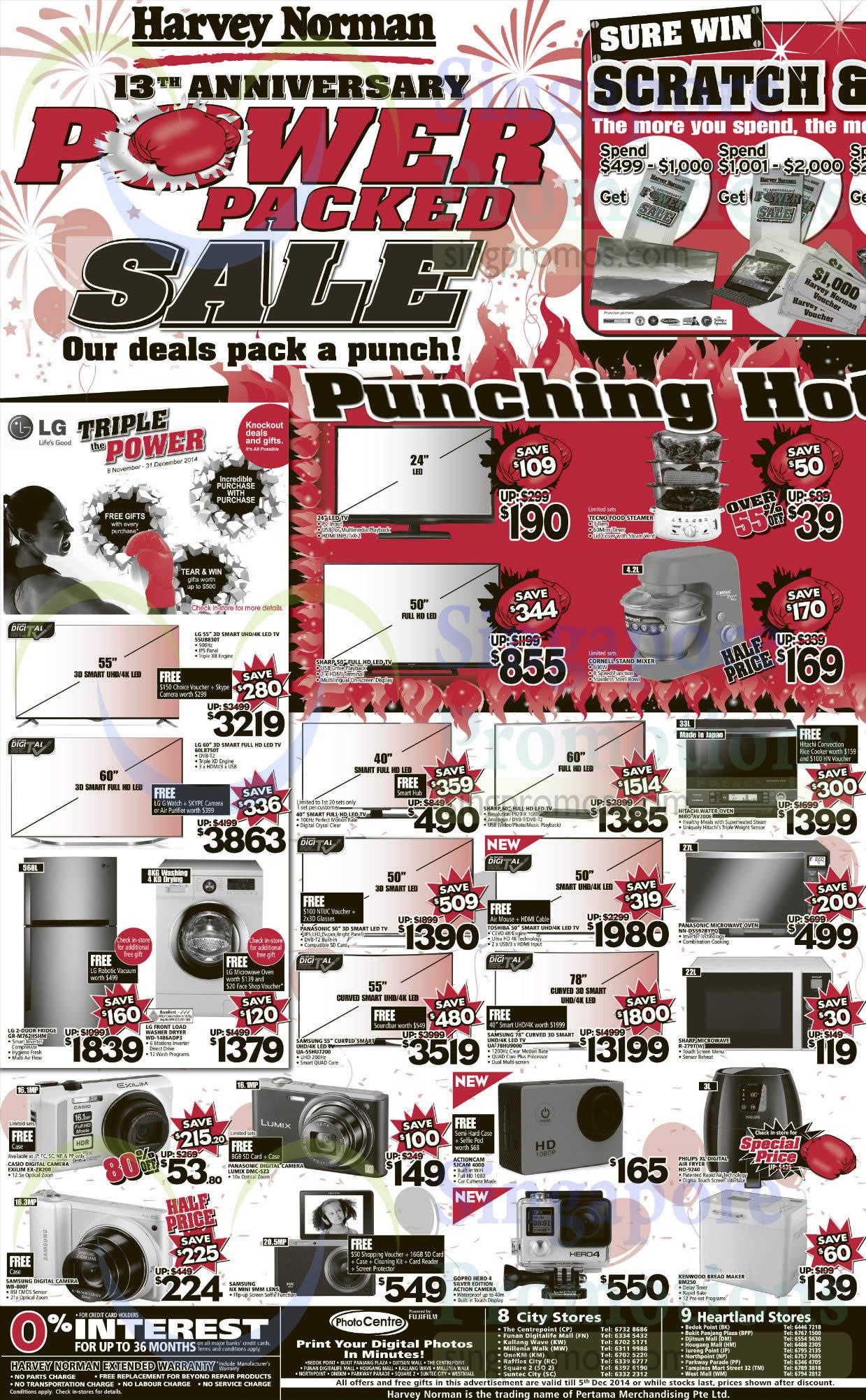 LG 55UB830T TV, LG 60LB750T TV, LG GR-M762HSHM Fridge, LG WD-1486ADP3 Washer, Samsung UA-55HU7200 TV, Samsung UA-78HU9000 TV, Casio EX-ZR200 Digital Camera, Panasonic DMC-S23 Digital Camera, Samsung WB-800F Digital Camera, Actioncam SJCam 4000 Digital Camera, GoPro Hero 4 Video Camera, Hitachi MRO-AV200E Oven, Panasonic NN-D5592BYPQ Oven, Sharp R-279T(W) Oven and Kenwood BM250 Bread Maker