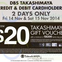 Read more about Takashimaya FREE $20 Voucher For DBS Takashimaya Cardmembers 14 - 15 Nov 2014