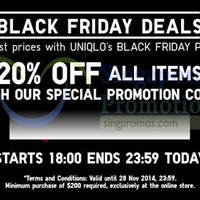 Uniqlo 20% OFF Storewide 6hr Black Friday Promo 28 Nov 2014