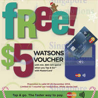 Read more about Watsons Free $5 Voucher Mastercard Tap & Go Promo 14 Nov - 25 Dec 2014