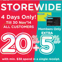 Read more about Watsons 20% OFF Storewide Promo 27 - 30 Nov 2014