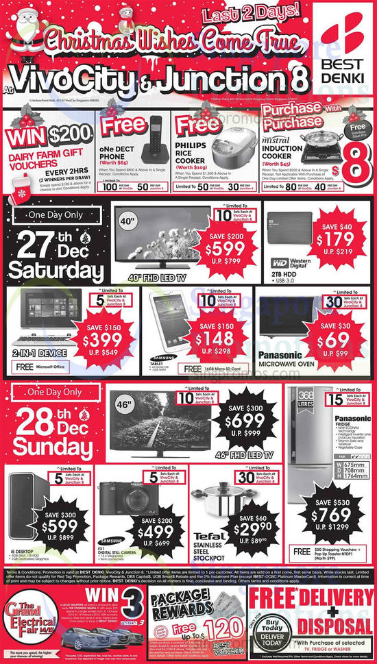 27 Dec Saturday, Sunday Deals TVs, Oven, Tablet, Fridge, Digital Camera, Stockpot, Samsung, Panasonic, Tefal