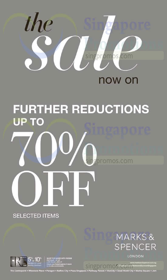 8 Jan Further Reductions Up to 70 Percent Off