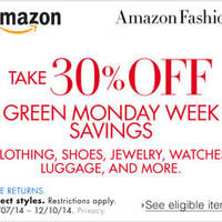Read more about Amazon.com 30% OFF Clothing, Shoes, Jewellery & More (NO Min Spend) Coupon Code 7 - 11 Dec 2014