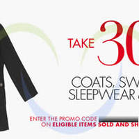 Amazon.com 30% OFF Coats, Sweaters, Sleepwear & More (NO Min Spend) Coupon Code 21 - 23 Dec 2014