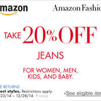 Amazon.com 20% OFF Jeans Coupon Code 21 - 30 Dec 2014