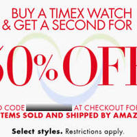 Amazon.com 50% OFF Second Timex Watch Coupon Code 20 - 21 Dec 2014