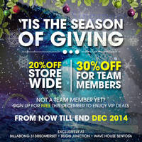 Read more about Billabong 20% Off Storewide Promo 4 - 31 Dec 2014