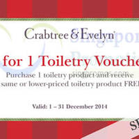 Read more about Crabtree & Evelyn 1 for 1 Toiletries 17 - 25 Dec 2014