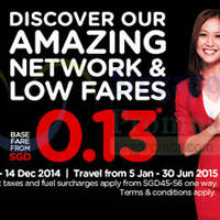 Read more about Air Asia From $0.13 (Base Fare) Promo Fares 8 - 14 Dec 2014