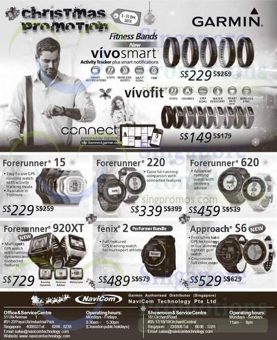 Fitness Bands VivoSmart, Forerunner, Fenix, Approach