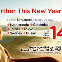 Air Asia From $10 (Base Fare) Promo Fares 22 Dec 2014 - 4 Jan 2015