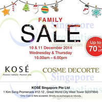 Read more about Kose Up To 70% Off Family Sale 10 - 11 Dec 2014