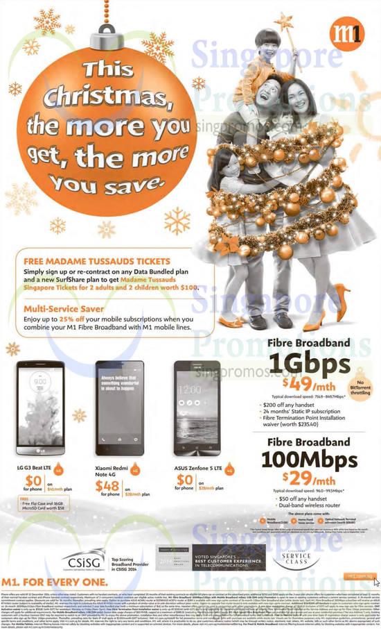 LG G3 Beat, Xiaomi Redmi Note 4G, Asus Zenfone 5, 49.00 1Gbps, 29.00 100Mbps Fibre Broadband
