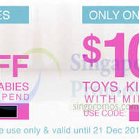 Lazada Singapore $10 OFF Toys, Kids & Babies Coupon Code 1-Day Promo 20 - 21 Dec 2014