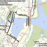 Marina Bay Singapore Countdown 2015 Road Closures 31 Dec 2014