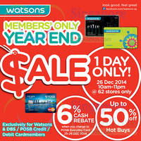 Read more about Watsons Up To 50% Off 1-Day Sale 26 Dec 2014