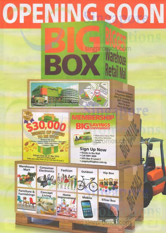 Membership Big Savings, Prizes to be Won, Address, Warehouse Mart, Consumer Electronics, Fashion, Outdoor, Hip Box, Mobile
