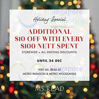 MS. Read Spend $100 & Get $10 Off @ Metro 18 - 24 Dec 2014