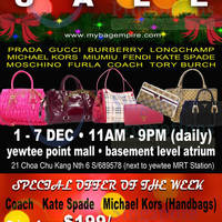 Read more about MyBagEmpire Branded Handbags & Accessories Sale @ Yewtee Point 1 - 7 Dec 2014