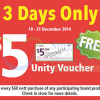 Read more about NTUC Unity Spend $60 & Get Free $5 Voucher 19 - 21 Dec 2014