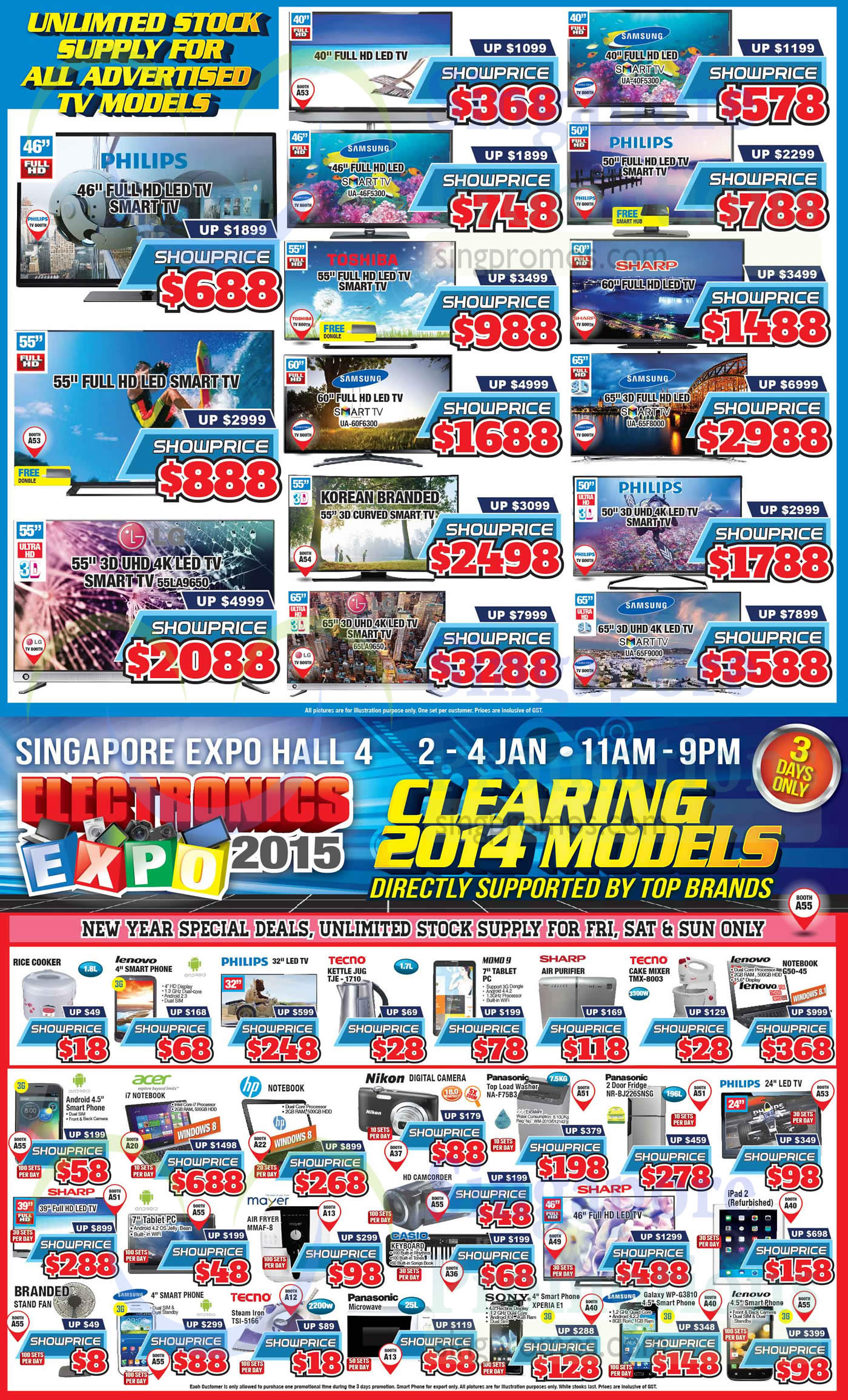 Samsung UA46F5300 TV, Samsung UA40F5300 TV, SamsungUS65F8000 TV, Samsung UA60F6300 TV, LG 55LA9650 TV, LG 65LA9650 TV, Samsung UA65F9000 TV, Lenovo G50-45 Notebook, Tecno TMX-8003 Cake Mixer, Tecno TJE-1710 Kettle Jug, Panasonic NA-F75B3 Washer, Panasonic NR-BJ226SNSG Fridge, Mayer MMAF-8 Air Fryer, Tecno TSI-5166 Steam Iron, Sony XPERIA E1 and Samsung Galaxy WP-G3810 Mobile Phone