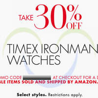 Timex 30% OFF Ironman Watches Coupon Code 22 - 23 Dec 2014