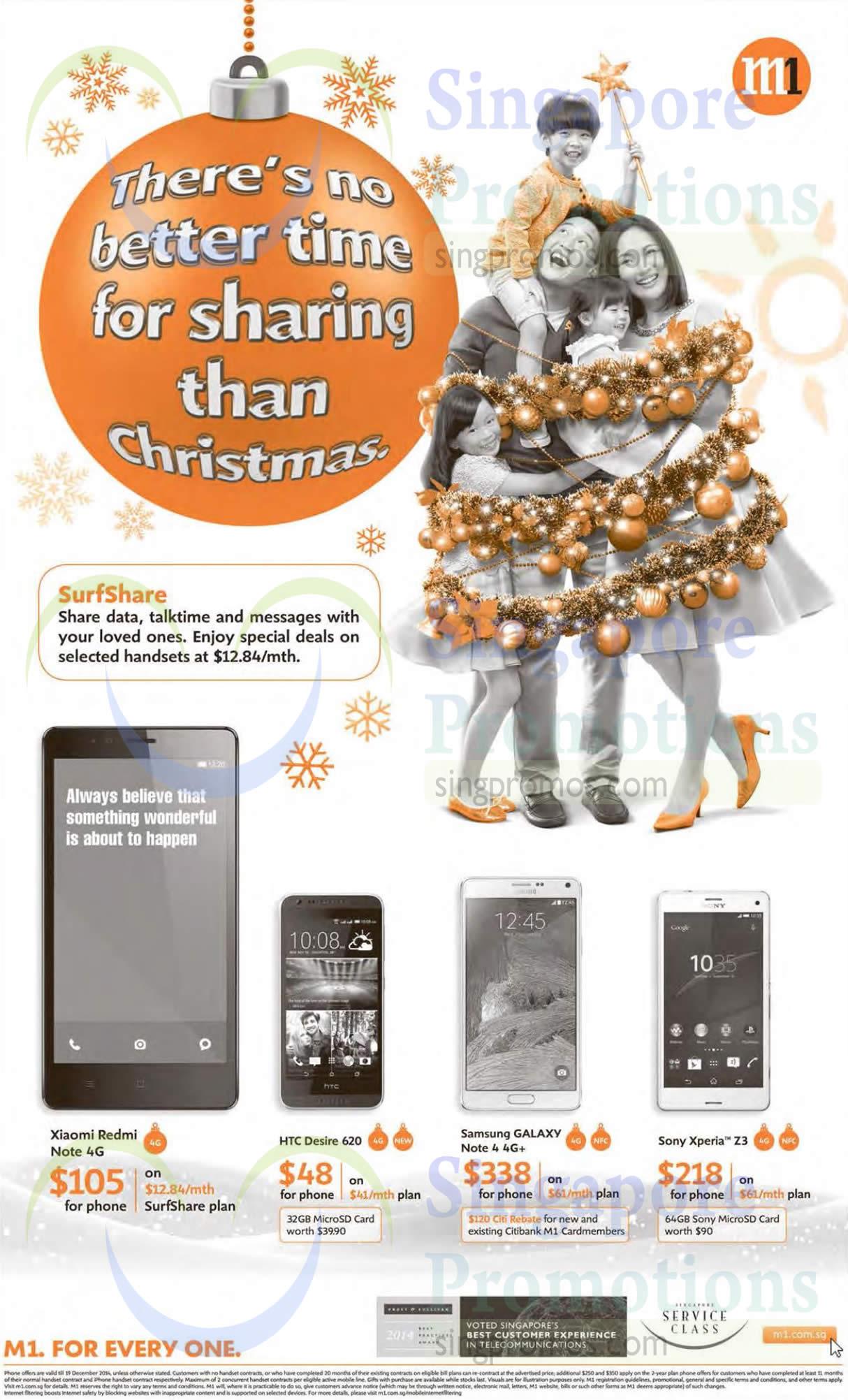 Xiaomi Redmi Note, HTC Desire 620, Samsung Galaxy Note 4, Sony Xperia Z3
